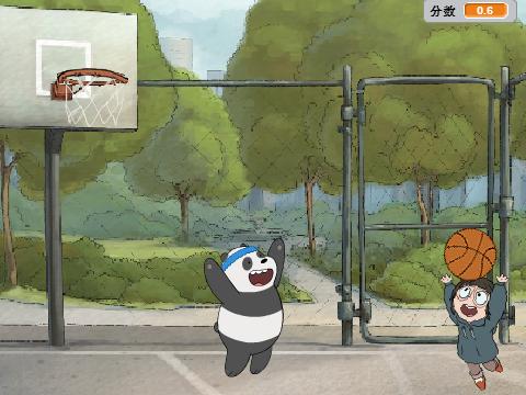 游戏规则:                   熊猫阻挡篮球不让篮球进如框内,空格