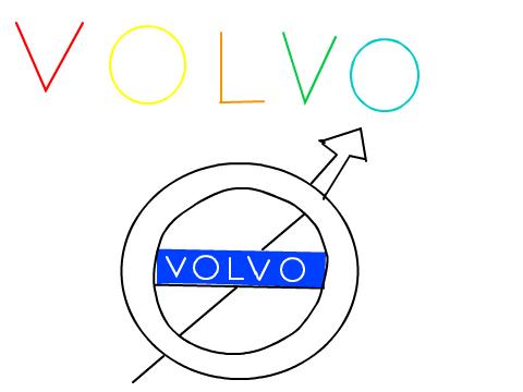 沃尔沃 logo 手绘