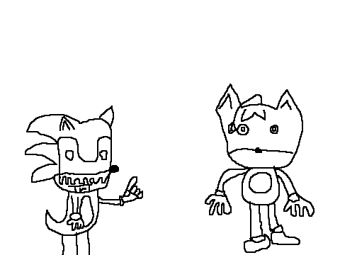sonic exe and tails doll coloring