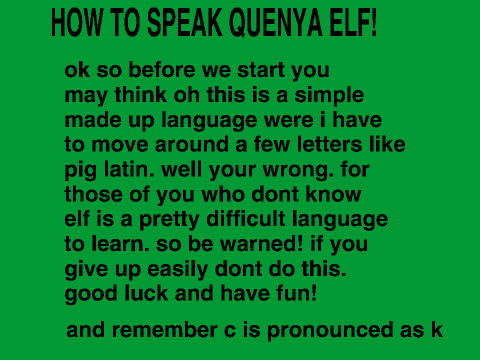Learn to speak elven