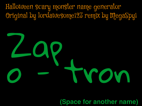 Halloween SCARY monster name generator on Scratch
