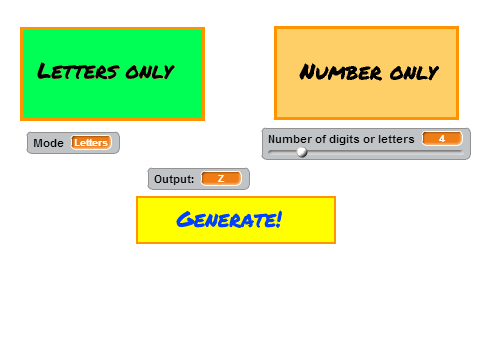Random Number and Letter Generator on Scratch