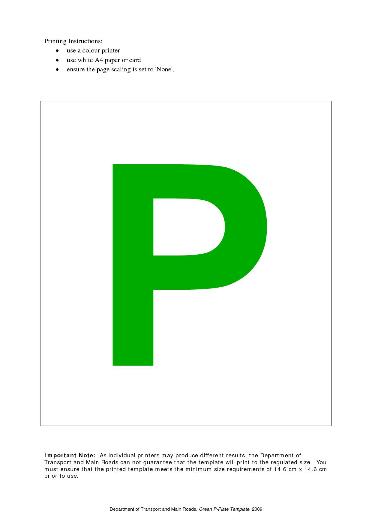 P Plate Template Gallery - Template Design Ideas